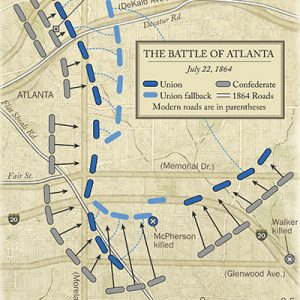 Infographic depicting the troop movements that was the Battle of Atlanta in 1864